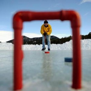 Ron Eccles, Thursday, Feb. 10, 2011, during a round of Ice Croquet on Evergreen Lake in Evergreen. RJ Sangosti, The Denver Post